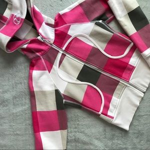 Lululemon Remix Hoodie Sweatshirt Pink Plaid Logo